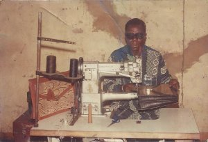 Boubacar Moussa at his sewing machine