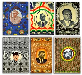 6 textiles depicting                heads of state